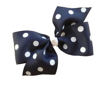 Navy blue polka dot hair bow - 4 inch bow, boutique bow, girls hair bow, navy bows, toddler bows, girls bows, hair clips, polka dot bows