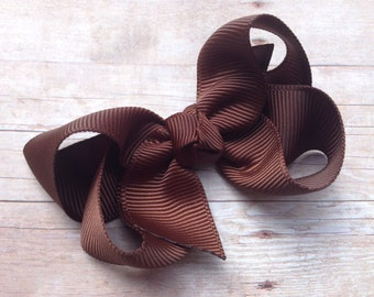 Brown boutique hair bow - brown bow, 3 inch boutique bow, 3 inch bow