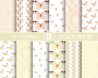 Wedding Digital Paper, Butterfly Digital Paper Wedding Scrapbook Paper Pack, Scrapbooking - INSTANT DOWNLOAD  - 1752