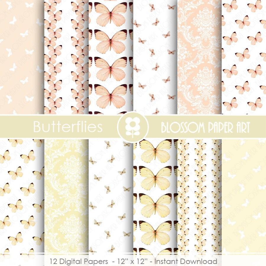 Wedding digital paper butterfly digital paper wedding - Papel de pared decorativo ...