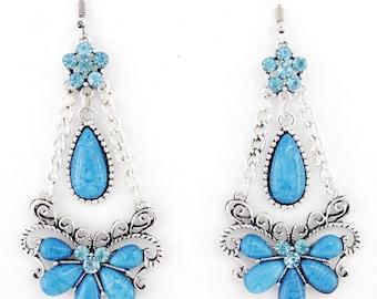Long Silver-tone Blue/Green/Orange Stones Crystal Bohemia Chandelier Drop EARRINGS