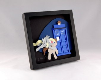 Derpy and Dr. Whooves with TARDIS - My Little Pony Dr. Who Shadow Box