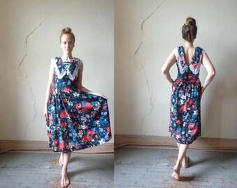 80s lace collar floral print dress// sm/med