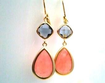 Coral Pink Gold earrings, Pink Wedding Earrings, Drop, Dangle earrings, bridesmaid gifts, Gemstone,Wedding jewelry, Navy Drop Earrigs