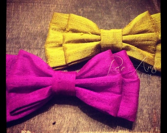 Magenta and Olive Rough Satin Double Bow Pair