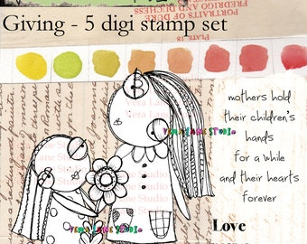 Friendship, mother daugher, giving image set. Five whimsical digi  image set for paper crafting.