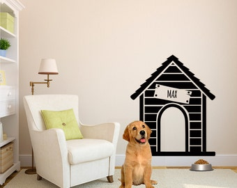 Dog House Wall Decal Etsy - Custom vinyl wall decals dogs