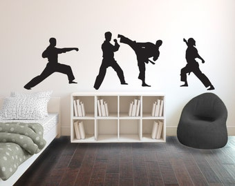 Karate Punch Pose Silhouette Sports - Wall Decal Custom Vinyl Art Stickers