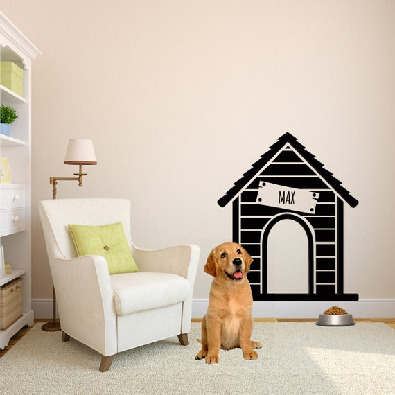 Personalized Dog House Wall Decal Custom Vinyl Art Stickers - Custom vinyl wall decals dogs