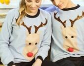 christmas sweater, reindeer sweatshirt, light blue sweater, christamas jumper, unisex clothes, christmas gift, unisex clothes, chirstmas