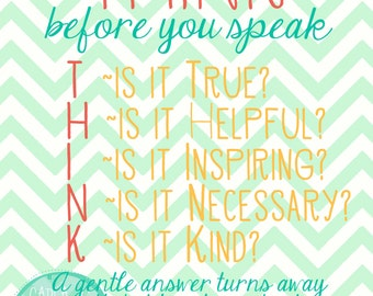 Think Before You Speak--Bright Colors