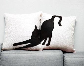 Black cat pillow covers, decorative pillows, sofa pillows, cat pillows, fundas de cojín, pet pillows, cat cushion, pillow set