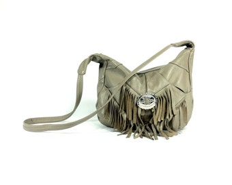 Leather Fringe Bag - Taupe Leather Southwest Purse with Concho - Crossbody Slouch Bag