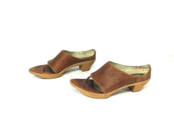 Wide Strap Leather Sandals 6 - Tribal Leather Clogs 6 - Slip On Leather Sandals 6