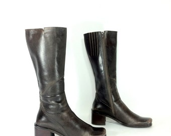Tall Leather Boots 8 - Brown Leather Knee High Boots 8 - Riding Boots 8 - Chunk Heel Boots 8