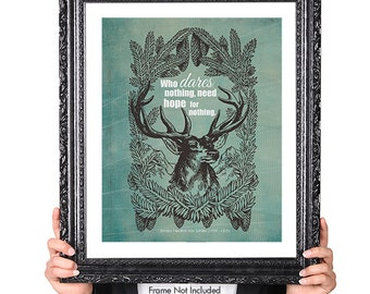 Dare, Adventure Art Quote, Deer Art,  Wildlife Art, Inspirational Quote, Vintage Illustration, Graduation Gift, Typographic Print, Green