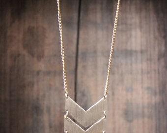 Brass Aztec Chevron Hand Sawn Necklace