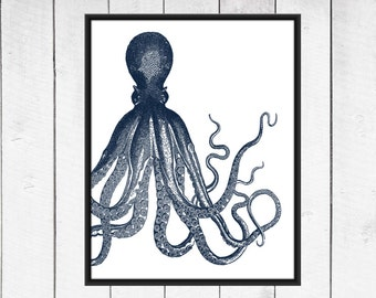 Octopus Print - Nautical Nursery -  Beach Decor  - Your choice of Size and Colors