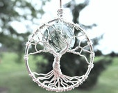 Silver Midwifery Tree of Life Necklace- Moss Agate Birthing Crystal- Gift for MIdwife, Doula, Birth, Labor