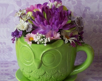 Colorful Floral Arrangement in a Green Embossed Owl Teacup