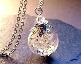 DANDELION NECKLACE, dandelion jewelry, RARE wildflower seeds, dandelion Seeds, glass  necklace, terrarium necklace, elf,  gift for women