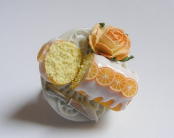 Food Jewelry Scented or Unscented Orange Drizzle Cake Miniature Food Ring -Miniature Food Jewellery,Mini Food Jewelry,Handmade Ring