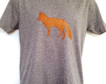 Fox t-shirt - men's printed t-shirt - hand printed, carbon neutral, organic