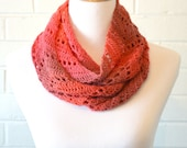 Crochet Chevron Infinity Scarf - Bright Pink, Coral, and Mauve