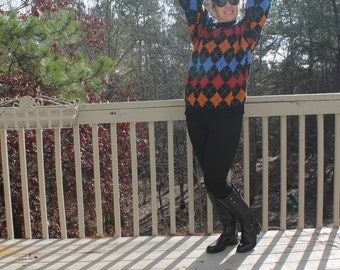 80s Men's Colorful Argyle Sweater by Sunbeam