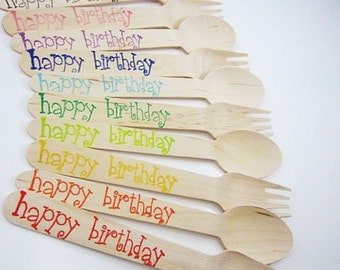 25 Large Happy Birthday Wooden Spoons/ Forks / Knives , Wooden Utensils, Wooden Cutlery, Birthday, Wooden Silverware, Kids Party, Rainbow