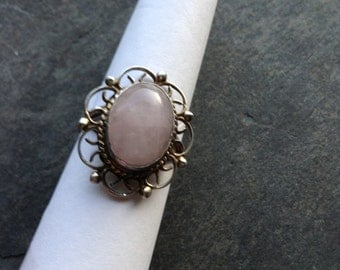 Rose Quartz in Flower Sterling Silver Ring - Size 9 1/2