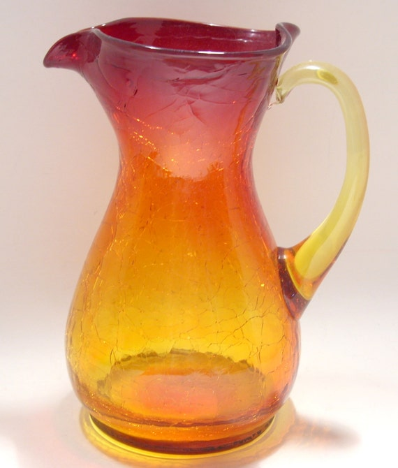 glass crackle amberina pitcher pitchers tall amber pilgrim