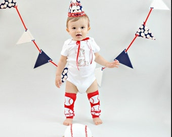 Baby boy 1st Birthday outfit one piece bodysuit, baseball, sports, photo prop, boy birthday shirt, leg warmers, birthday clothing