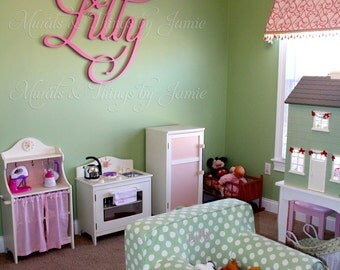 "Up to 48"" Name cut-out or Large Wood Monogram, 3/4"" depth, PAINTED, includes all hardware. Lilly, Lily, or Lili look best in this font."