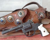 Vintage Cap Gun and Leather Holster