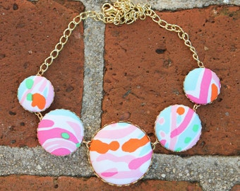 "Lilly Pulitzer ""Jellies Be Jammin"" Fabric Covered Button Necklace"