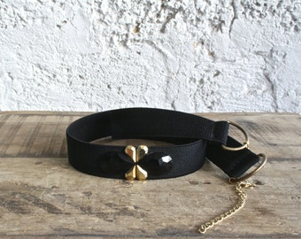 Black and gold elastic belt, Waist belt, Evening dress belt, Cinch belt, Adjustable belt, Bridesmaid accessory, Woman black belt