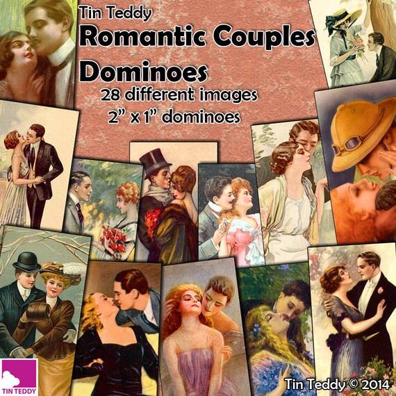 Tin Teddy Romantic Couples Dominoes
