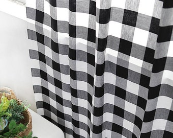 "Prewashed Plaid Cotton Fabric - Black and White Plaid - 55"" Wide - By the Yard 49795"