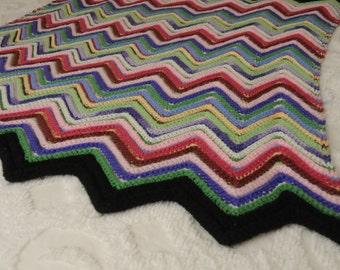 Vintage Zig Zag Afghan Handmade Throw Primary Colors
