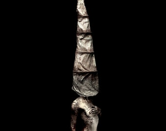 "Silver woman, implied nude, art photo, mask, cone head, silent hill, fantasy, female torso photograph, metal, haunting, ""The Sentinel 2"""