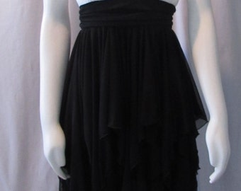 Hankerchief Hem DRESS Black White Rhinestones Dance, Stretch size Medium,