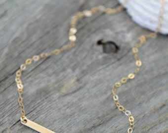 14k gold filled skinny bar Necklace, rectangle Baguette, horizontal bar stick, modern minimal jewelry