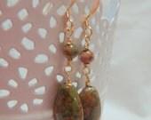 Unakite Teardrop Earrings, Pink and Green Earrings, Gold Earrings