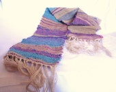 Earth and Sky Handwoven scarf with camel merino corriedale shetland and lots of silk  OOAK
