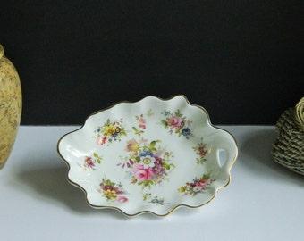 Vintage Hammersley Fine Bone English China Scalloped Dish 1950s Howard's Spray Pattern/Floral/Mid Century/Mod/Holiday/Gift/Wedding/Gifts