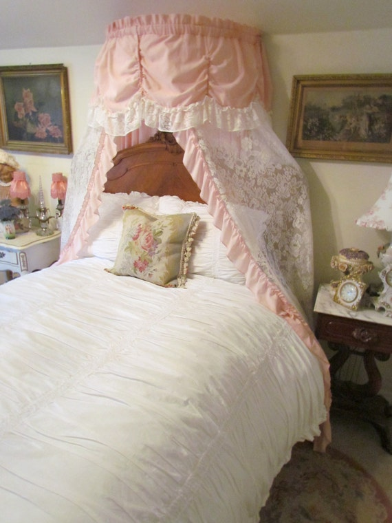 Pretty Pink And White Lace Ruffled Curtain Pair By