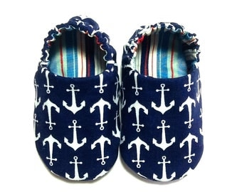 Nautical Baby Boy Shoes with Anchors, 0-6 mos. Baby Booties, Soft Sole Shoes, Nautical Crib Shoes, Slip on Baby Shoes, Nautical Baby Gift