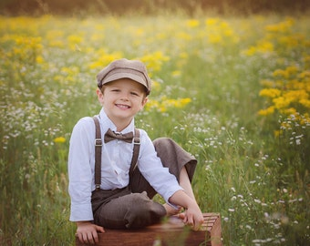 Ring Bearer outfit - brown vintage wedding - Newsboy hat suspenders pants bow tie - toddler boy set baby