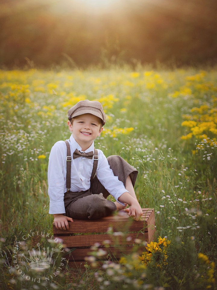Ring Bearer Outfit Brown Vintage Wedding Newsboy Hat